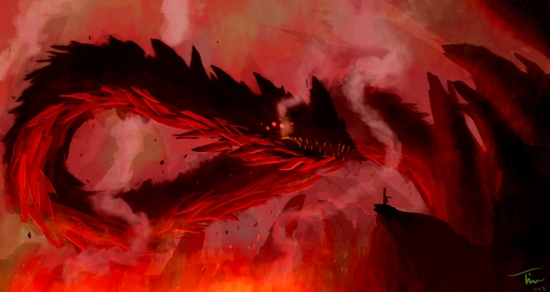lava_dragon_vs__samurai_by_timhedlund-d5z47g5